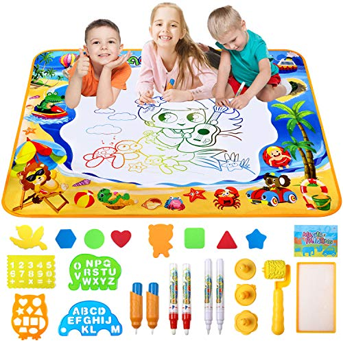 Toyard Doodle Mat, Large Aqua Magic Water Drawing Mat Toy Gifts for Boys Girls Kids Painting Writing Pad Educational Learning Toys for Toddler -