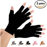(X-Large, Pure Black) - Arthritis Gloves 2 Pairs, Compression Gloves Support and Warmth for Hands, Finger Joint, Relieve Pain from Rheumatoid, Osteoarthritis, Carpal Tunnel, Tendonitis, Women and Men (Pure Black, X-Large)