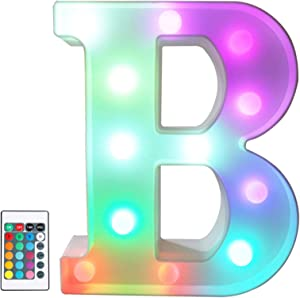 Colorful LED Marquee Letter Lights with Remote – Light Up Marquee Signs – Party Bar Letters with Lights Decorations for the Home - Multicolor B
