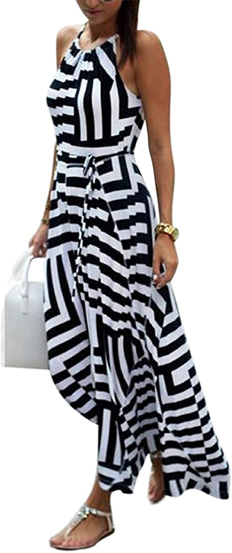 Sondereu Sommerkleid Damen Lang Maxikleid Damen Armellos Elegante Kleider Party Strandkleider Amazon De Bekleidung