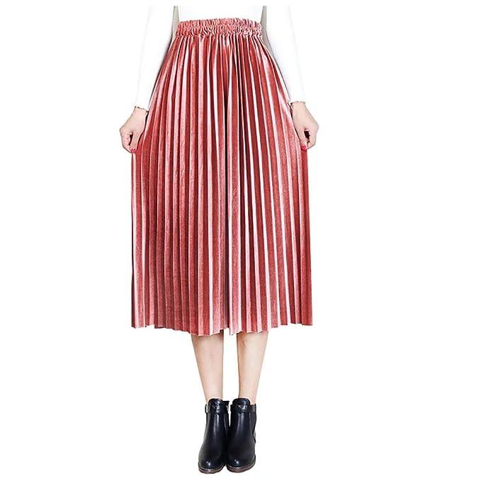 8c191bac5c9 Fashion World Women High Waist Velvet Pleated Midi Skirt at Amazon ...