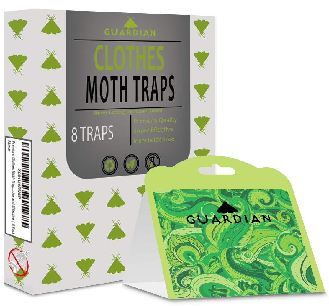 Premium Clothes Moth Traps by Guardian European Pheromone Attractant | Safe, Non-Toxic, and Insecticide Free | Easy to Use and Effective | 8 Pack by Guardian European