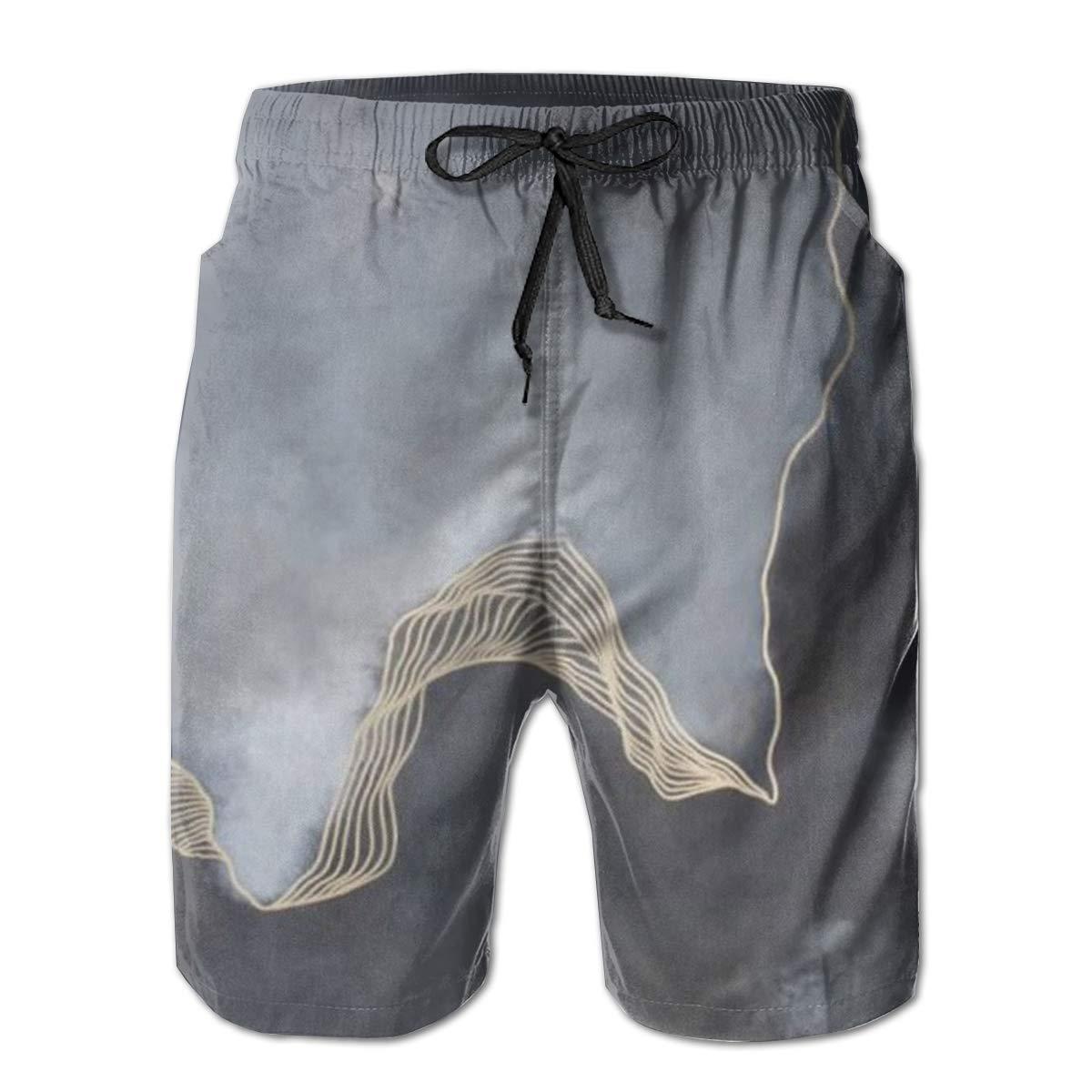 Grey Cloudy Night Men/â/€s Beach Board Shorts Quick Dry Swim Truck Shorts