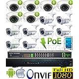 USG Sony Chip 14 Camera 1080p 2mp IP PoE Audio CCTV Kit: 1x 24 Ch 5MP NVR + 6x 2.8mm Dome w/ Mic. + 8x 2.8-12mm Auto-Focus & Remote Zoom Bullet + 1x 18 Port PoE Switch + 1x 4TB HD : Apple Android App