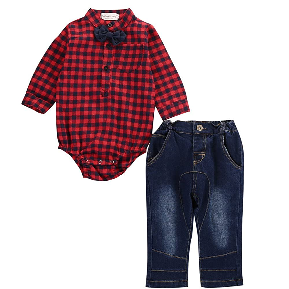 Alicado 2Pcs Kids Baby Boy Plaid Romper With Tie+Jeans Pants Outfits Clothing Set