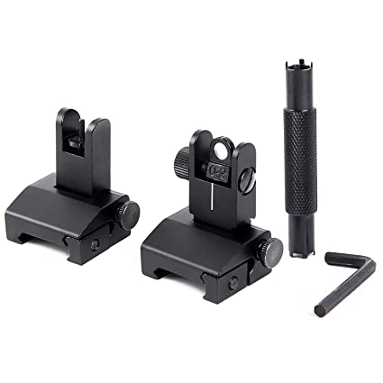 Ohuhu Iron Sights Flip Up Aluminum Alloy Front and Rear Iron Sight for  Picatinny Rail
