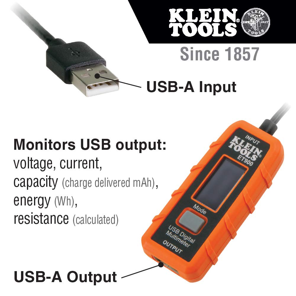 USB Power Meter, USB-A Digital Meter for Voltage, Current, Capacity, Energy Resistance Klein Tools ET900 by Klein Tools (Image #2)