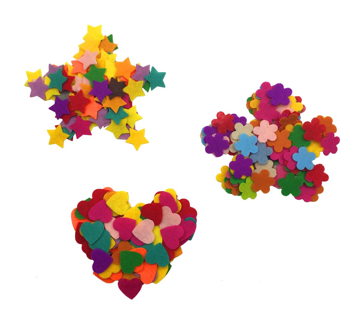Hyamass Approx 300pcs Multi Color Mini Felt Flower Heart Star Embellishments DIY Craft Decoration