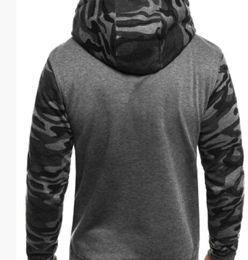 Abetteric Mens with Hood Camouflage Splicing Fleece Slim-Fit Tunic Sweatshirts Top