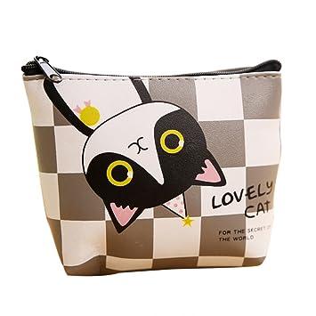 Skyeye 1 pcs Monedero, Tipo de Gato a Cuadros, tamaño: 13 * 11 cm Caja de Almacenamiento de Auriculares Monedero Casual Monedero de autobús de Moda: ...