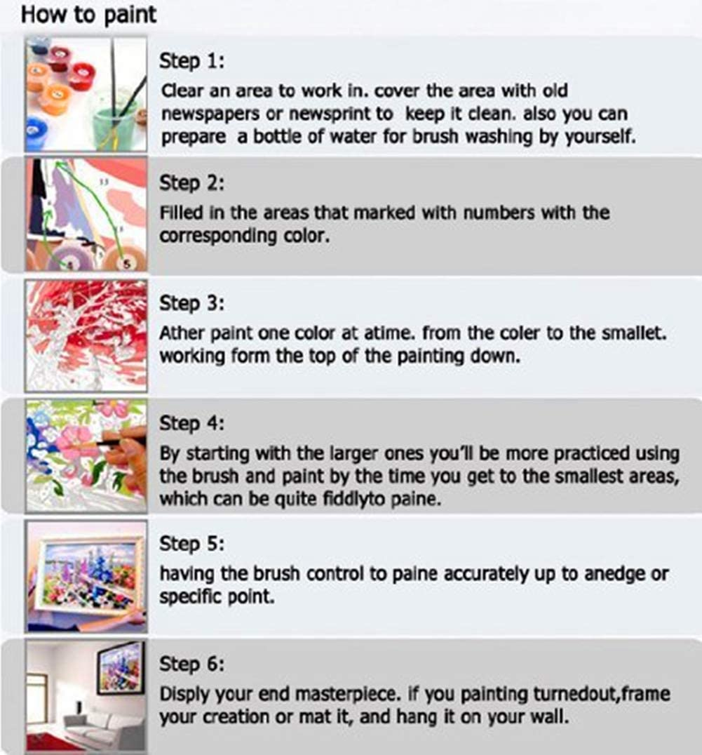 DIY Oil Paint by Number Kits Home Decor Wall Gift Painted for Painting Beginner 16 x 20 Inches LanMent Painting by Numbers for Adults Long Haired Cow