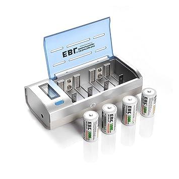 EBL 906 Smart Cargador para Baterías Recargables AA AAA CD 9V con 4 Piezas de 5000mAh Pilas Recargables C