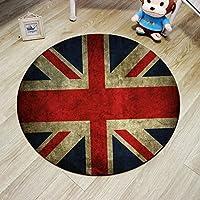 Modern Rugs and Carpets British Flag Black Fur Rug Carpet Round Chair For Living Room (62.9Diameter,04)