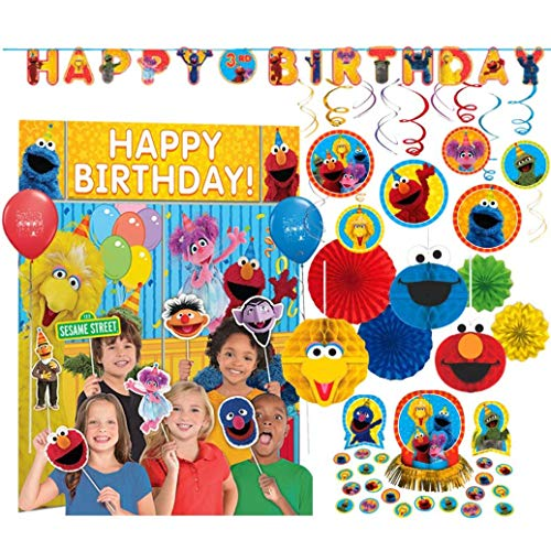 Party Decoration for Sesame Street Themed Birthday including Add-An-Age Banner, Photo Back Drop with Props, Foil Swirl Decorations, Honeycomb Decorations, Glitter Fans, Table Decoration Kit and Balloons]()