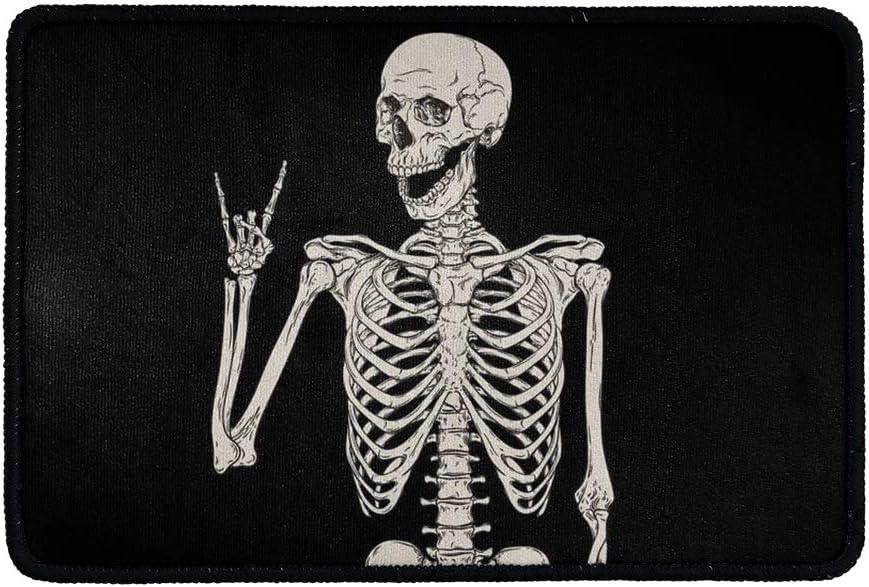 BIGCARJOB Funny Skull Doormats Bathroom Floor Mat Rock Skeleton Non-Slip Area Rugs Halloween Decorative Entrance Front Door Rug for Home Decor