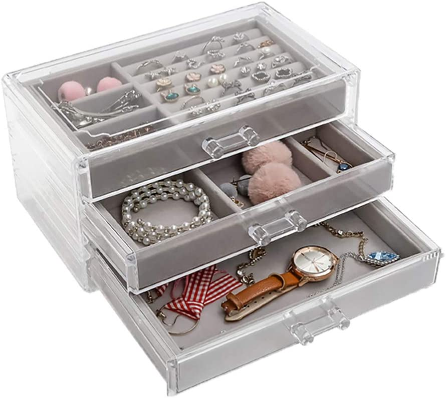Jewelry Organizer 3 Drawer Velvet Jewellery Box For Women Girls Ring Earring Necklace Bracelet Storage Holder Display Case Acrylic Clear Amazon Ca Home Kitchen