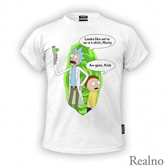 Camiseta Rick and Morty Para Hombre, Blanco, Tamaño Grande.Parece Que Estamos EN Una Camiseta Morty AW Geez Rick: Amazon.es: Ropa y accesorios
