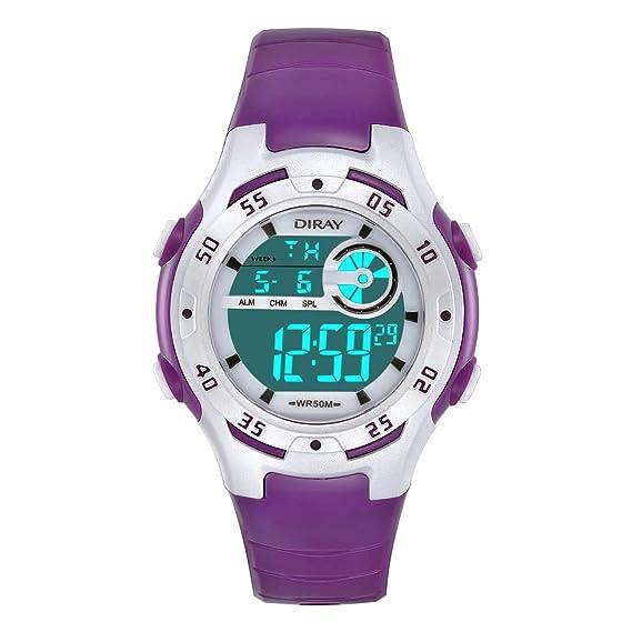 el más nuevo 527ae b712e Reloj Digital para niños y niñas, Resistente al Agua, 5 ATM, Reloj de  Pulsera Digital con Despertador, cronómetro, Fecha, Semana y Calendario