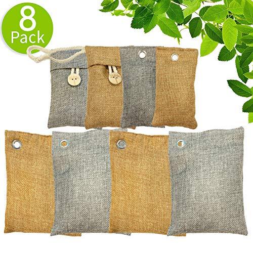 WYEWYE Bamboo Charcoal Air Purifying Bag (8 Pack), 200g,100g Natural Air Freshener Bags, Activated Charcoal Odor Eliminators, Car Air Purifier, Closet Freshener, Home Air Freshener