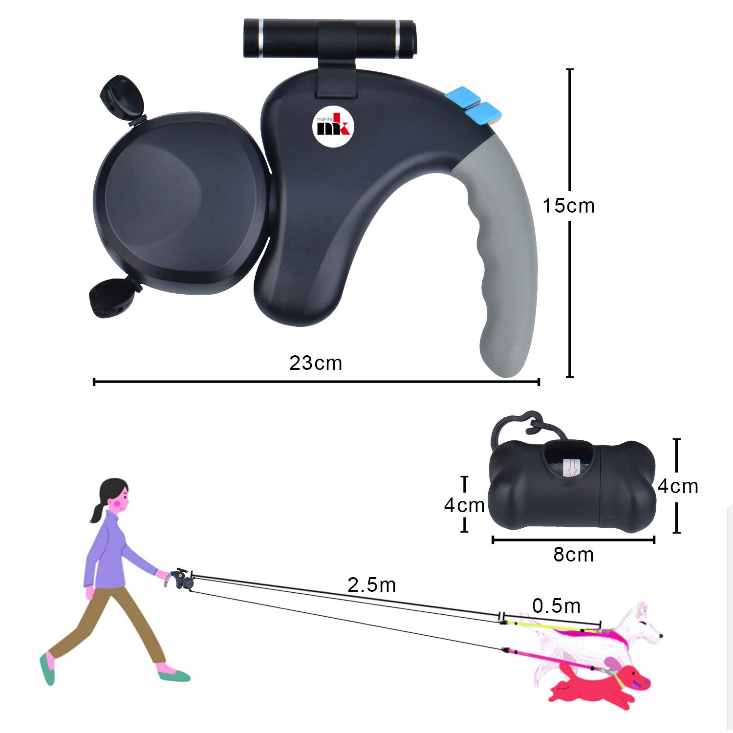 Makife Double Dog Leads with LED light Automatically Retractable Dog Leash 3M 25kg//50kg 15pcs Dog Waste Bags
