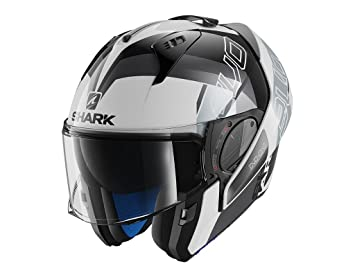 HE9714EWKS : Casco moto SHARK EVO-ONE 2 SLASHER BLANCO NEGRO PLATA talla L