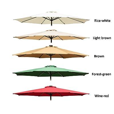 Leisurelife 9ft Patio Umbrella Top Cover Replacement, Forest-Green : Garden & Outdoor