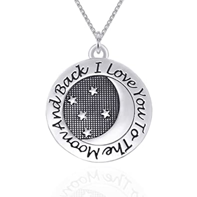 Amazoncom I Love You To The Moon And Back Pendant Necklace Silver