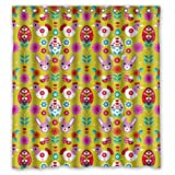 Pretty Animal Cartoons Colorful Rabbit Chick Shower Curtain - 66''x72'' Inches - Waterproof Polyester Fabric - Shower Rings Included