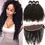 Beauty Forever Malaysian Curly Hair 3 Bundles Virgin Hair with 13x4 Lace Frontal Closure Free Part Unprocessed Human Virgin Curly Hair Weave Natural Color (22 24 26+20 Frontal)