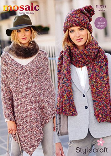 Stylecraft Ladies Poncho Hat Scarf Mosaic Knitting Pattern 9200