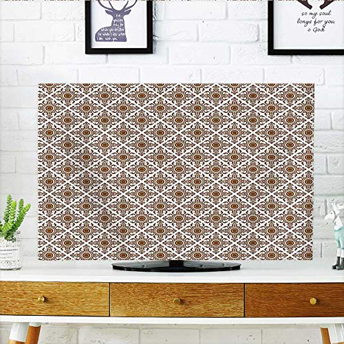 tv Protective Cover Mosaic Art Culture Stylized Abstract Lines Dots Pattern Folk Asian Design Redwood White tv Protective Cover W19 x H30 INCH/TV 32