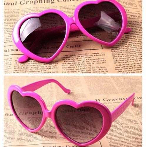 VANKER 1X Hot Pink Fashion Cute Women Lady Girl Oversized Heart-Shaped Plastic Frame Retro Sunglasses Eyeglasses - Heart Shaped Pink Glasses