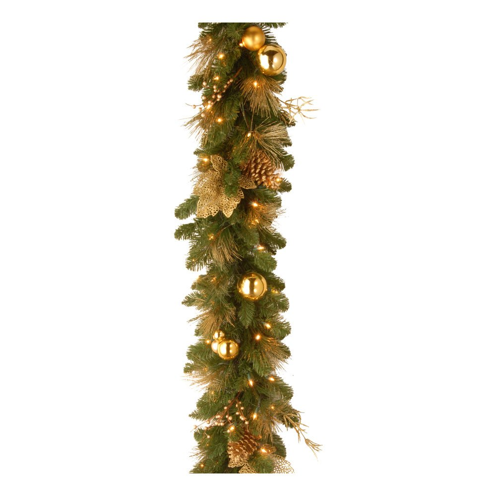 National Tree 6 Foot by 12 Inch Decorative Collection Elegance Garland with Glittered Twigs, Leaves, Cones, Ball Ornaments and 50 Battery Operated Warm White LED Lights (DC13-109-6B/B)