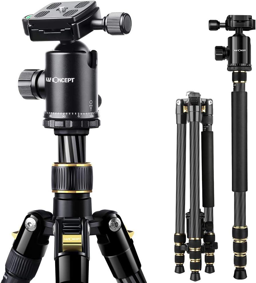 K&F Concept TC2534 66 inch Professional Carbon Fiber Tripod Lightweight Portable Monopod Kit for DSLR Canon Nikon Simga Tamron Sony Cameras