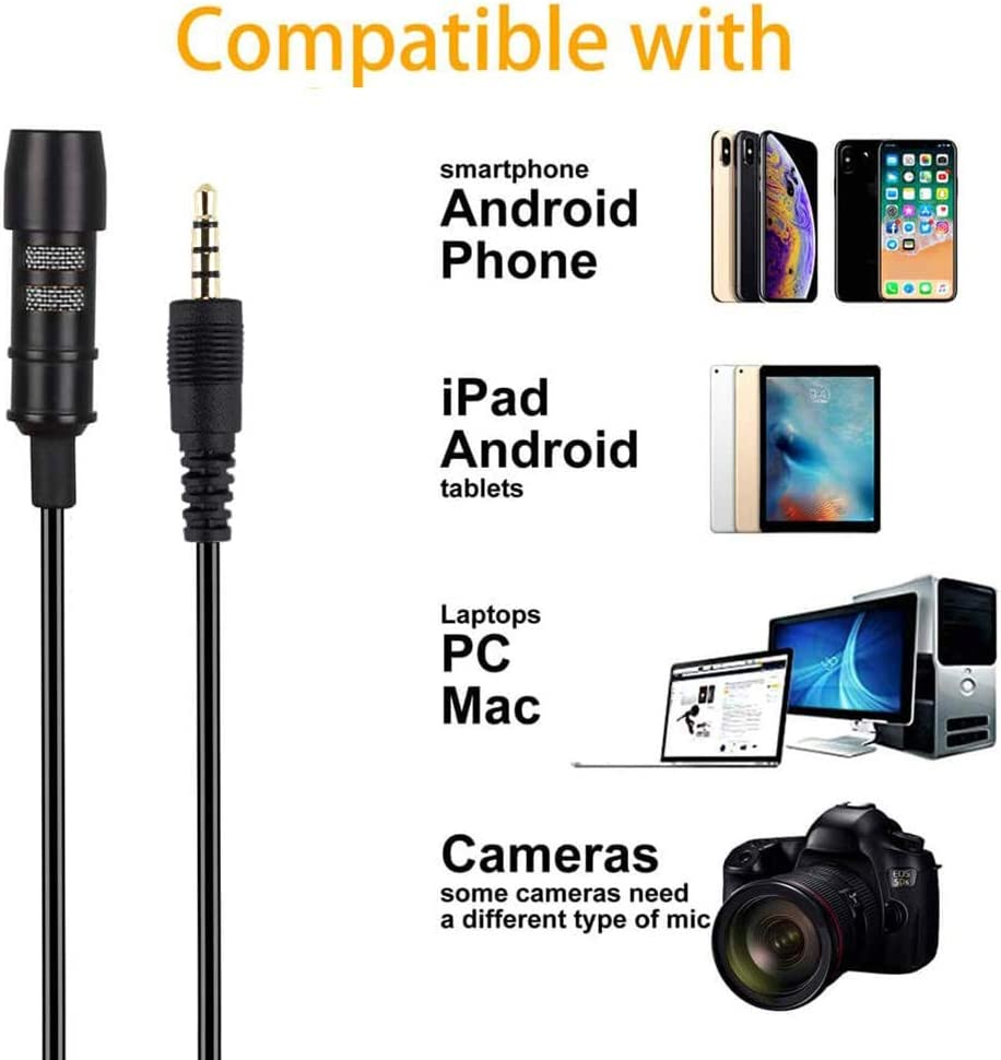 Tdbest Lavalier Microphone Conference Camera Clip On Mic Professional Omnidirectional Condenser Lapel Microphone with Wind Muff 3.5mm Jack for Recording YouTube Interview Podcast Video Recording