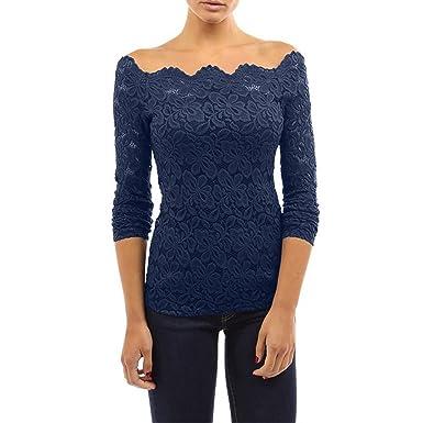 c1f31d8324 EUzeo Mujer Camiseta Manga Larga Blusas de Encaje Flores Lace Crochet Sin  Tirantes Camisas Shoulder Off Lace