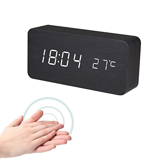 Amazon.com: Digital Alarm Clock,Winnes Wooden Electronic Clock LED Displays Time Date Week and Temperature, Cube Wood-Shaped Sound Control Desk Alarm Clock ...