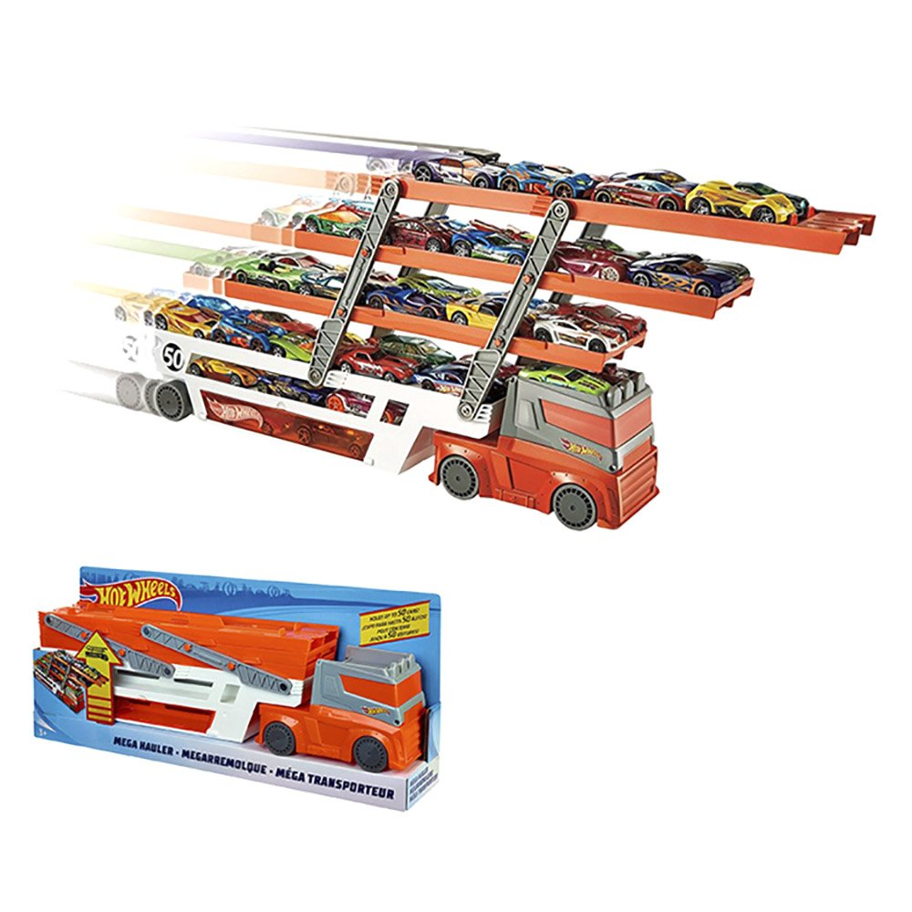 WEKA Big Cool Hot Wheels Mega Hauler 6-layer Expandable Levels Container Vehicles Trucks Cars Hold Up to 50 Cars Transporter Toy Gift