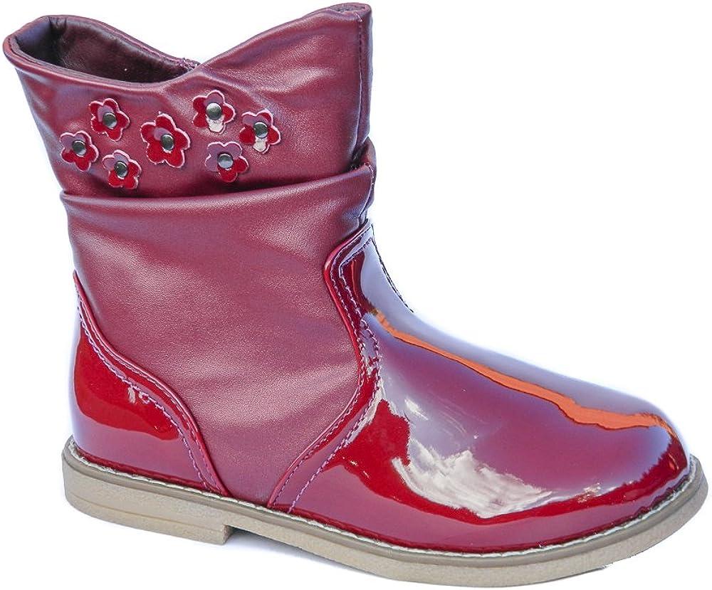 Toddler Girls Burgundy Patent Ankle