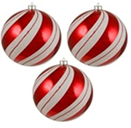 "Northlight 3 Count Peppermint Twist Shatterproof White and Red Swirled Christmas  Ornaments, 4.75"" - Northlight 3 Count Peppermint Twist Shatterproof White And Red Swirled  Christmas Ornaments, 4.75"