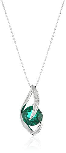 10k White Gold Gemstone and Diamond Accent Flame Pendant Necklace, 18""