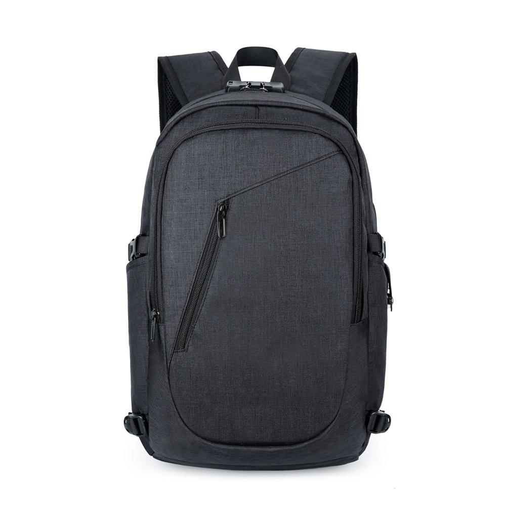 Mochila para viaje portá til con bolsa de viaje USB, compartimento para auriculares y cerradura, mochila resistente al agua para computadora portá til de hasta 15.6 pulgadas, negra