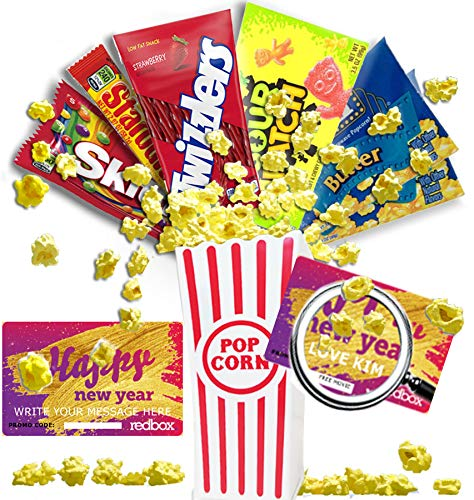 Personalized Happy New Year Movie Night Gift Basket ~ Includes Butter Popcorn, Concession Stand Candy and 2 Customized Gift Cards for Free Redbox Movie Rentals with Personalized Message (CHEWY) ()