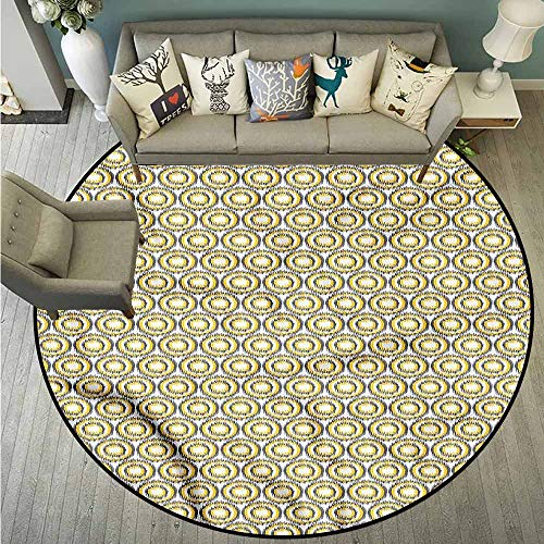 Living Room Round Rugs,Grey and Yellow,Ikat Form Bulls Eye,Easy Clean Rugs,3'7