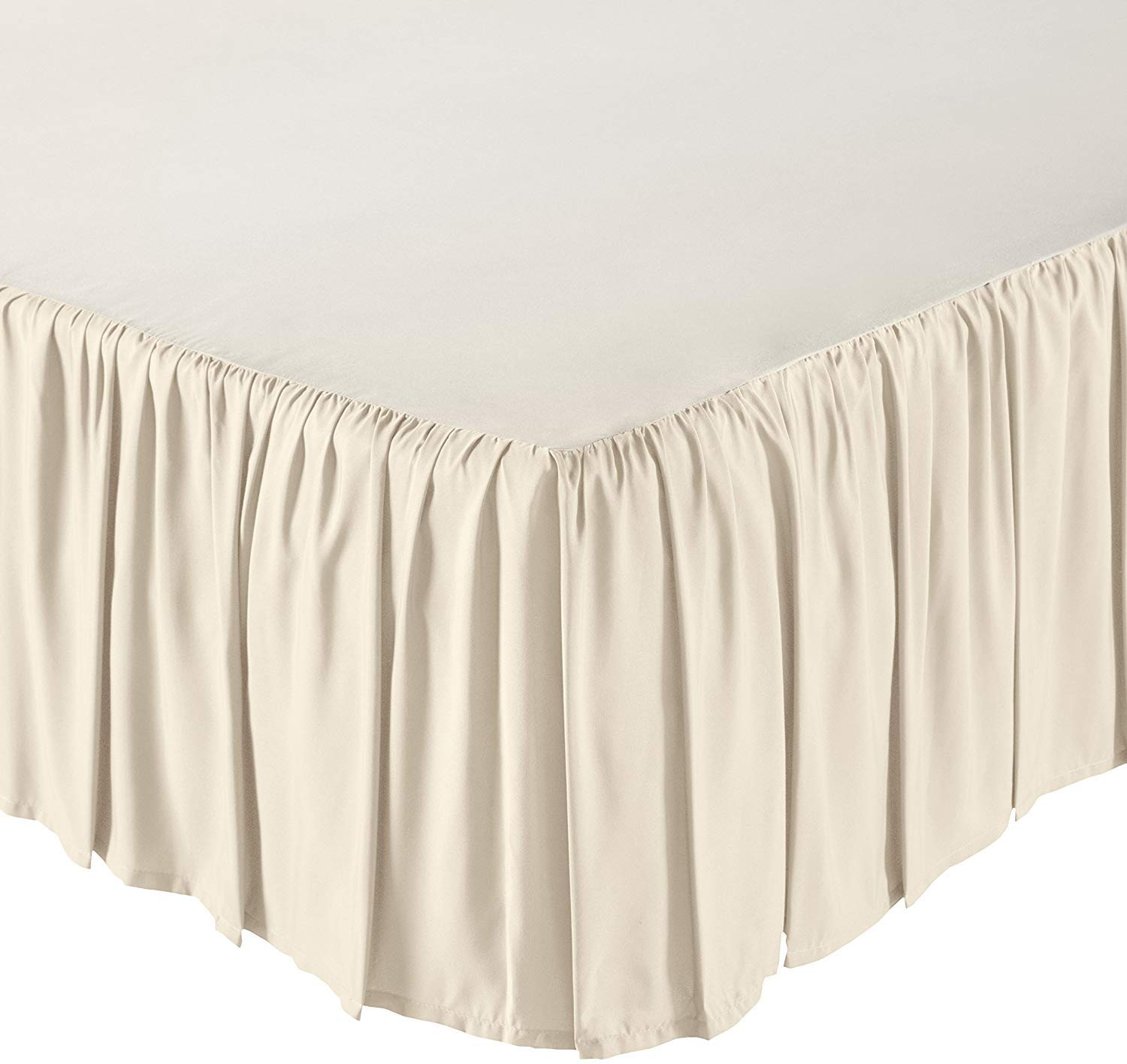 Mattress-Homes Ruffled Bed Skirt- 21 Inch Drop (Queen, Ivory) Dust Ruffle with Platform (Available in All Bed Sizes and Colors) by Mattress-Homes