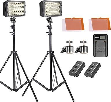 Neewer Kit de luz Panel LED Regulable con Soporte, batería de ...