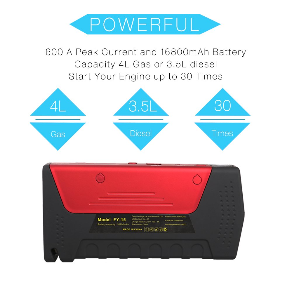 Car Jump Starter 600A Peak Up to 6.0L Gas or 4.5L Diesel Engine Tire Inflator Premium Portable Phone Power Bank Auto Battery Charger Pack Booster with Dual Quick Charge Output Built in LED Light & USB by fustrong (Image #6)