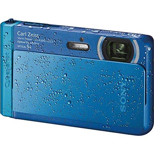Sony Cyber-Shot DSC-TX30 Shock & Waterproof Digital Camera (Blue) with 32GB Card + Case + Floating Strap + Battery + Charger + Flex Tripod + Kit