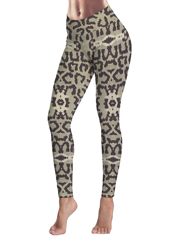 Womens Yoga Pants Workout Leggings High Waisted Capris Tummy Control Gym Running Leggings Animal Snake Print