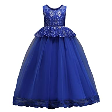 Moonker Baby Girls Kids Wedding Flower Dress Sleeveless Ankle-Length Lace Princess Party Formal Dresses
